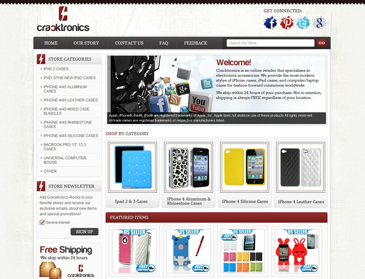 ebay store design for cracktronics cellular accessories