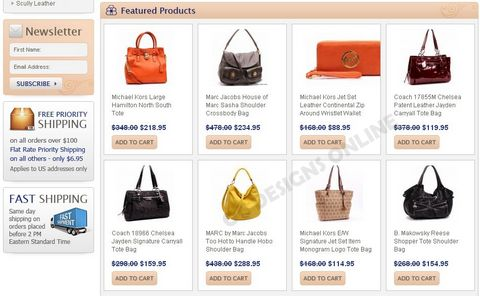 Example of handbags and purses big commerce store design
