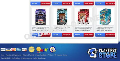 Collectible card ecommerce retailer eBay store design