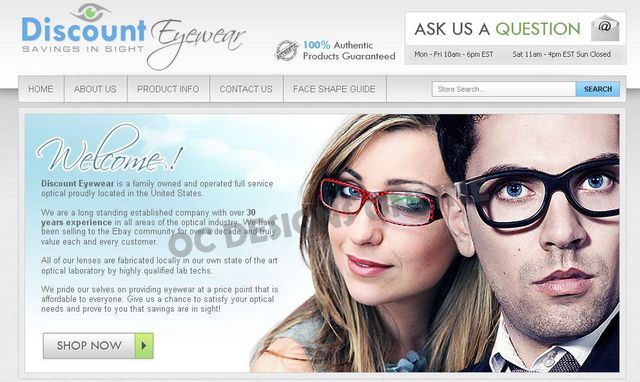 Eyeglasses and Sunglasses eBay Store Designs