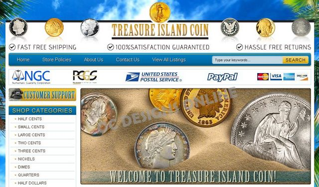Custom eBay store design for coin stores
