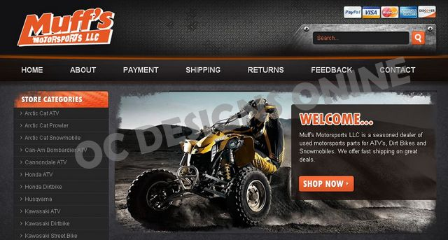 ATV parts and accessory eBay store design