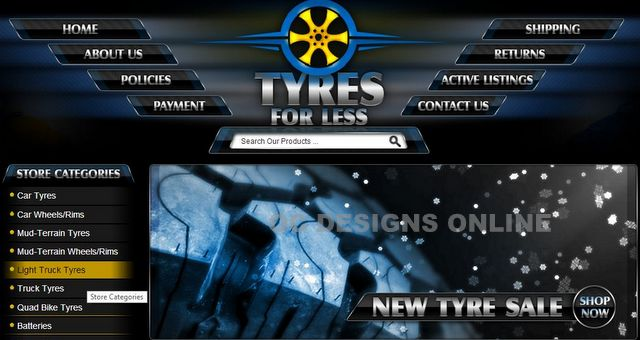 Custom eBay store design for tire stores