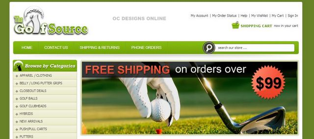 Golfing Equipment BigCommerce Store Design
