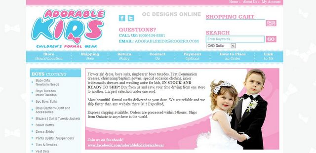 Kids formal wear Volusion store design