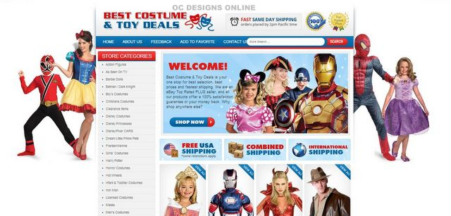 Costume and Toy eBay store design