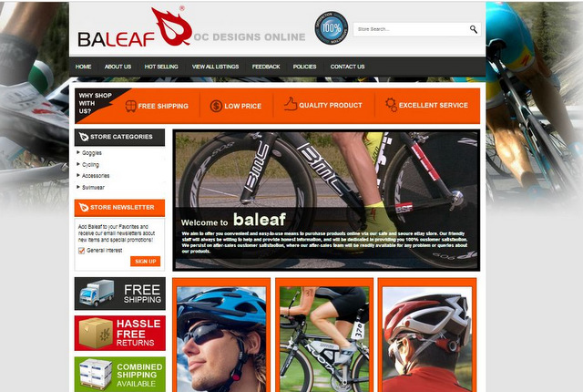 Custom eBay store design for bicycle store
