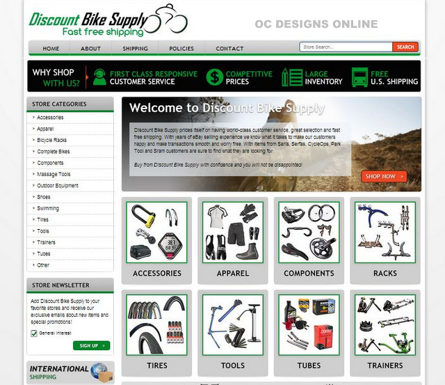 Discount bike shop eBay store designs