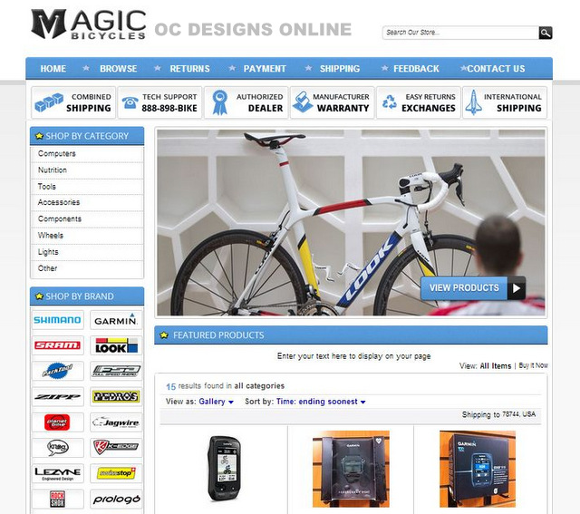 Put brand logos in your bike shop eBay store design
