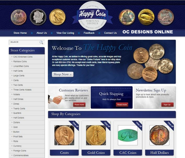 Coin retailer sell more with custom eBay store designs