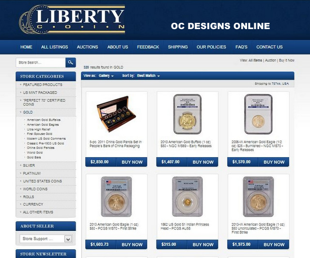 eBay custom category pages for coin retailers