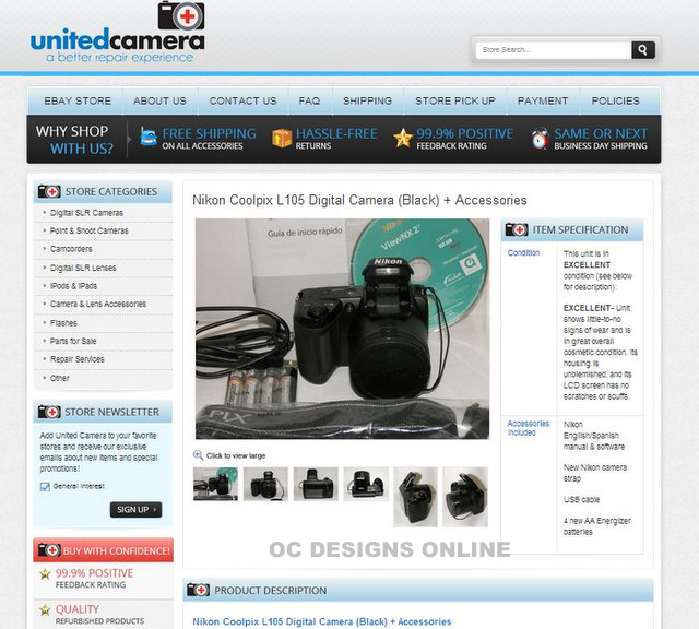 eBay listing templates for camera and video retailers