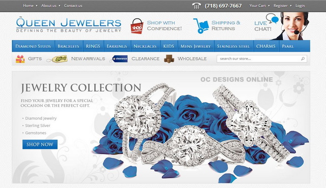 Custom volusion store design for queen jewelers for Volusion templates for sale