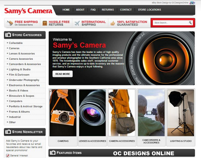 Custom EBay Store Designs For Camera And Video Retailers - Custom ebay store template
