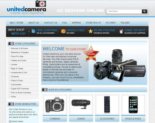 Custom EBay Store Designs For Camera And Video Retailers - Ebay website template