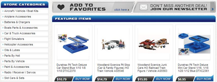 Inexpensive eBay store design for hobby retailers