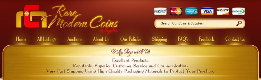 Custom eBay store design for coin retailers