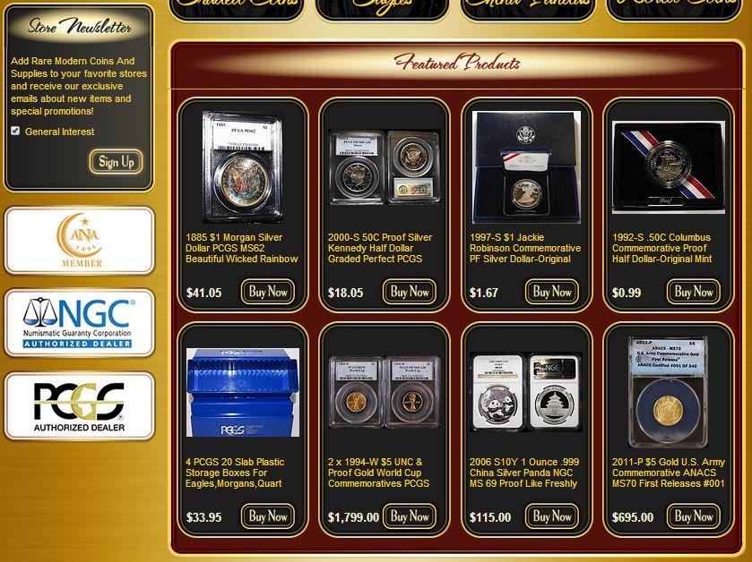 Coin retailer custom eBay storefronts
