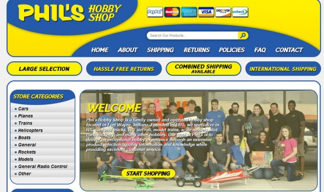 Custom eBay store design for hobby retailers