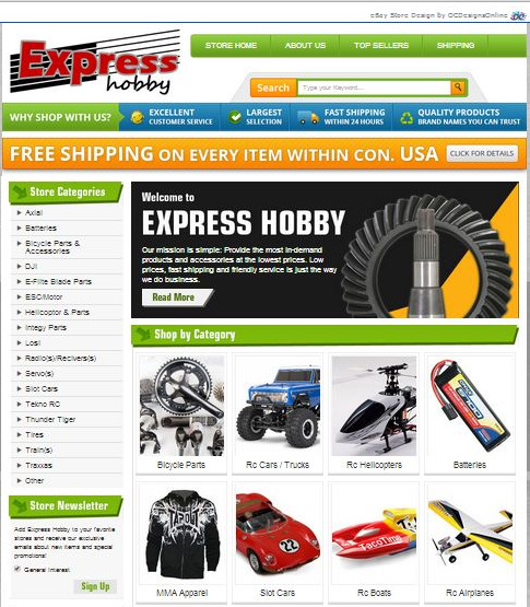 Express Hobby eBay Store Design