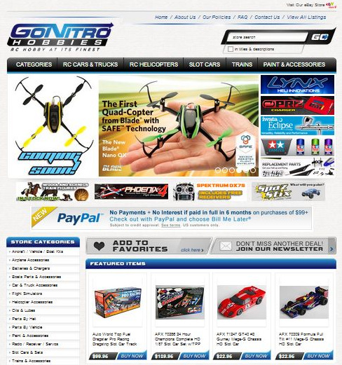 Go Nitro Hobbies eBay store design