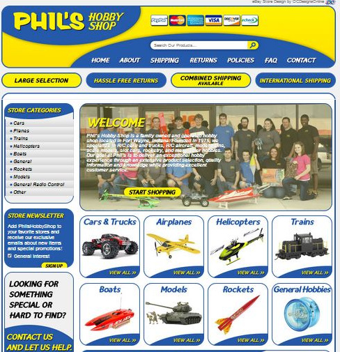 Custom eBay Store Design for Phil's Hobby Shop