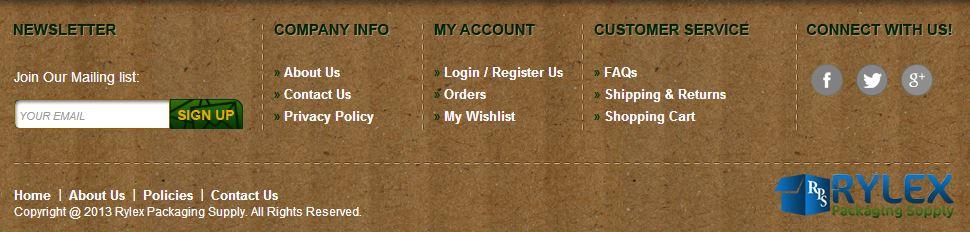 Custom Magento Go Store Footer