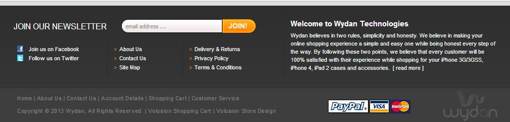 Custom Volusion Store Footer