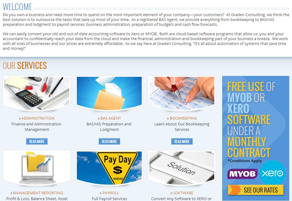 Australian Web Design custom category page