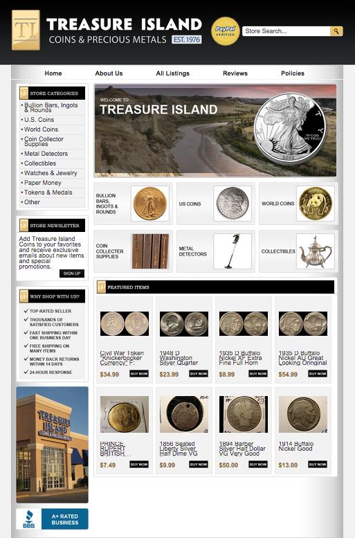 Coin collecting eBay design