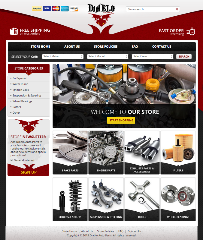 Diablo Auto Parts eBay store design