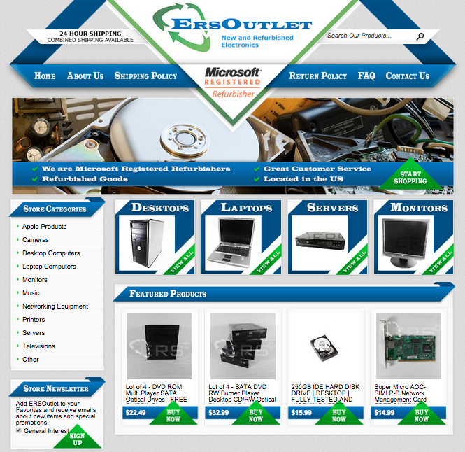 ERS Outlets new custom eBay storefront design