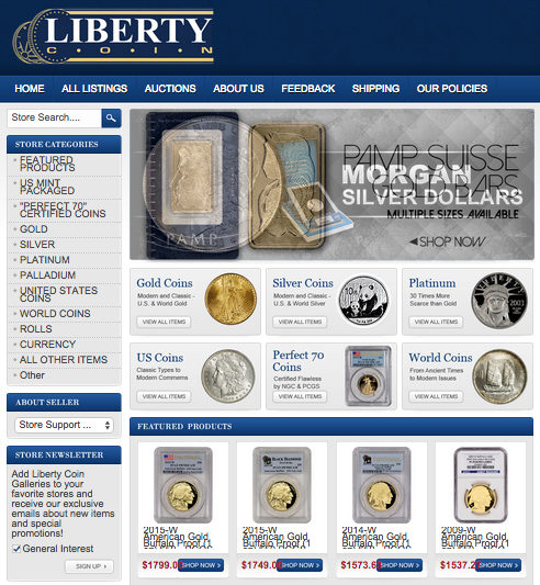 Liberty Coin's custom eBay storefront design