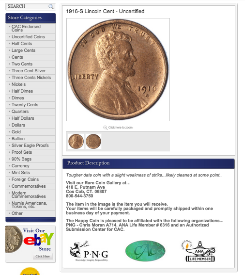 The Happy Coin's new eBay listing template design - get your free quote now