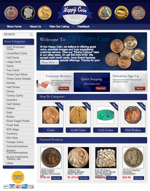 The Happy Coin's new eBay storefront design - get your free quote now