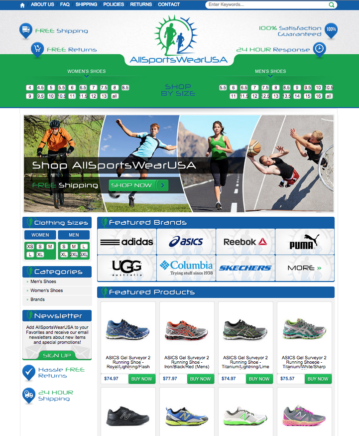 All Sportswear USA's new browsing with a purpost design from OCDesignsonline