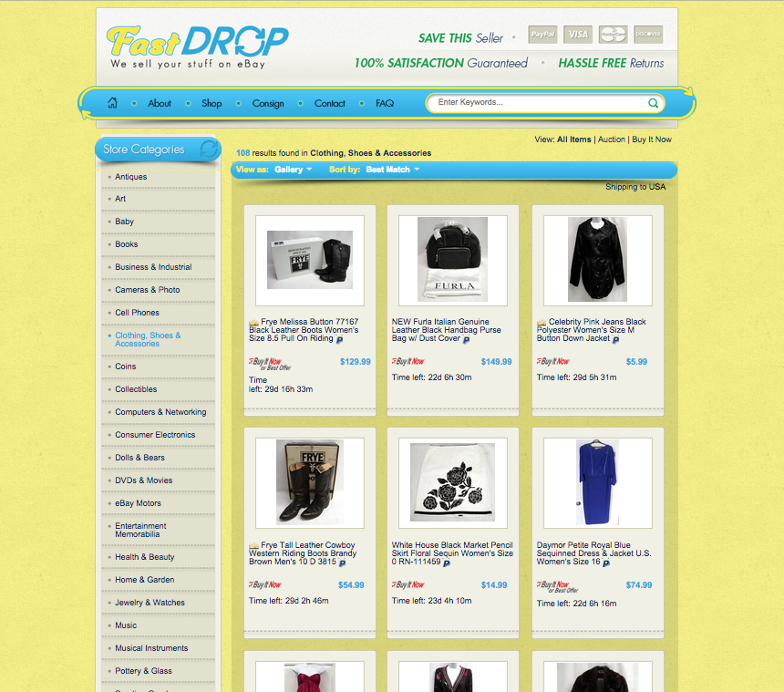 Custom category pages for eBay sellers from OCDesignsonline