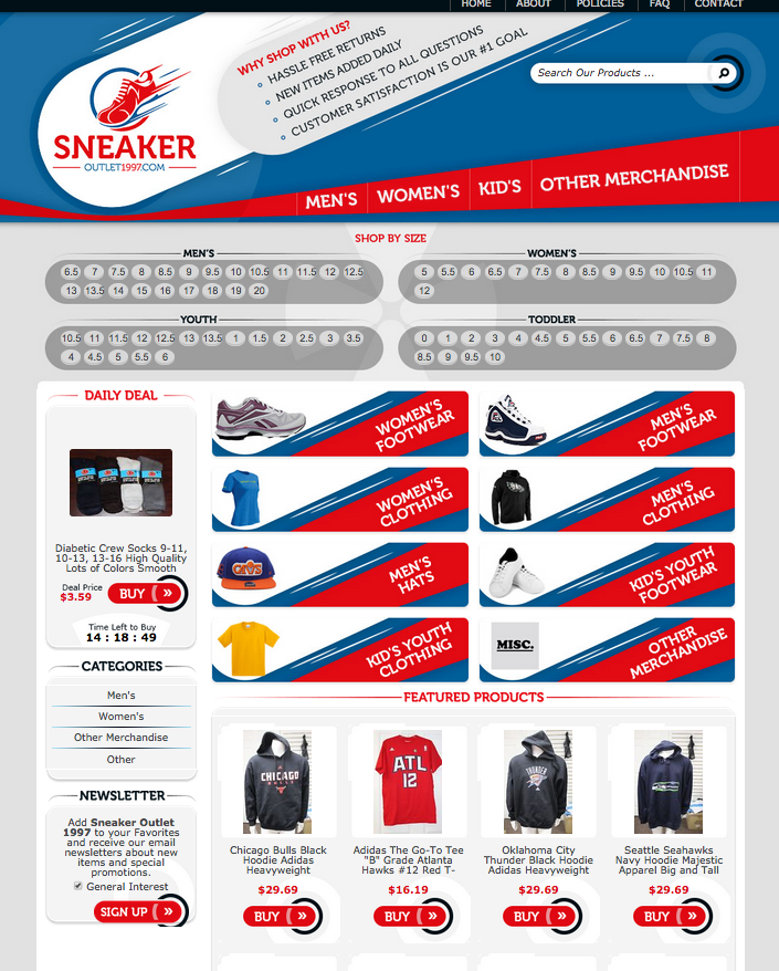 Sneaker Outlet 1977 custom eBay store design example
