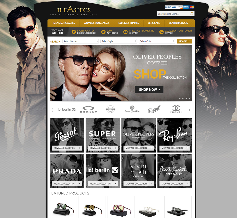 The Aspecs boosted sales to their luxury store with their new eBay store design from OCDesignsonline