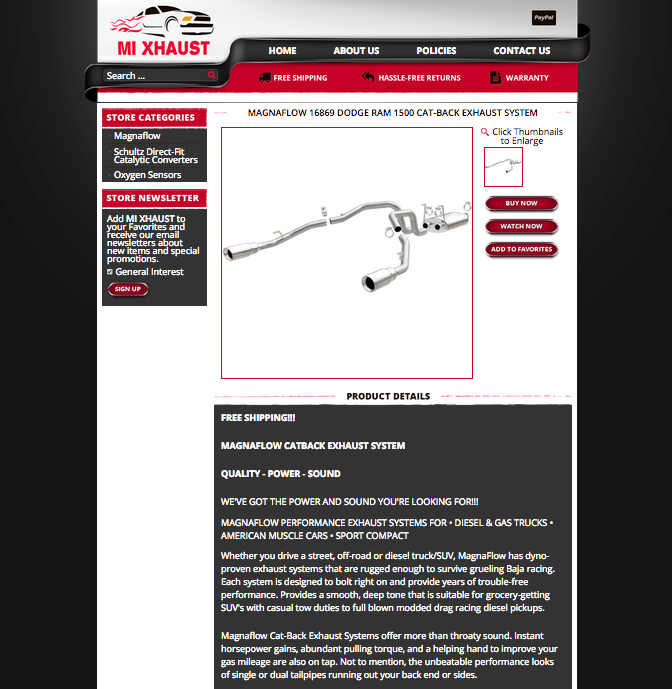 Mi Xhaust's custom eBay listing design