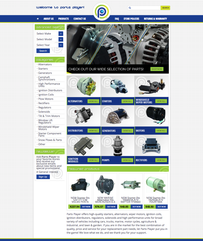 Parts Players SEO driven eBay design