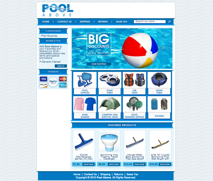 Pool Above's new eBay design