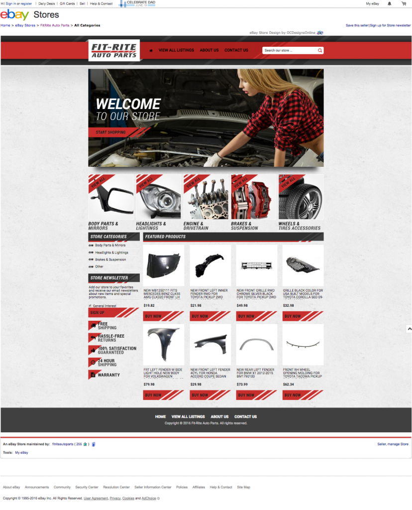 Fit-Rite Auto Parts and Eye Catching eBay Template - OCDesignsOnline