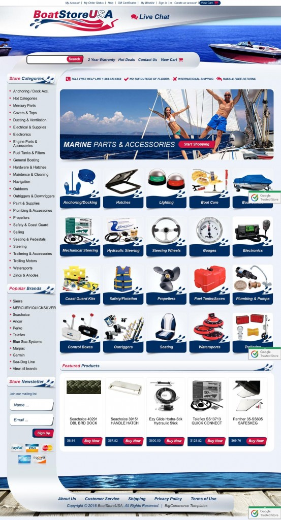 Custom boating store designs on BigCommerce