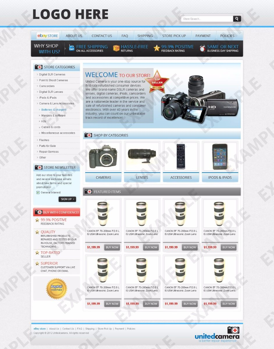 ebay store template tutorial - avavee ebay store design computers electronics cameras