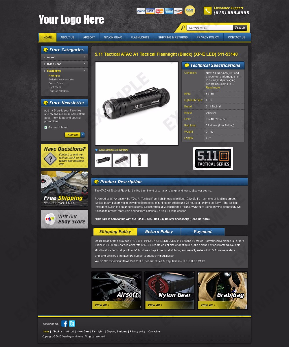 Babblelounge ebay template sporting goods theme 1242 for Ebay store template tutorial