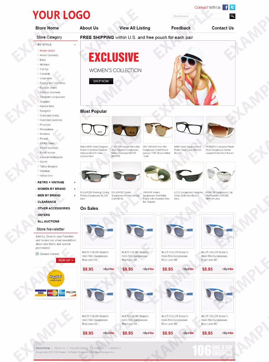Ainix ebay store design sunglasses handbags theme 1253 for Ebay store template tutorial