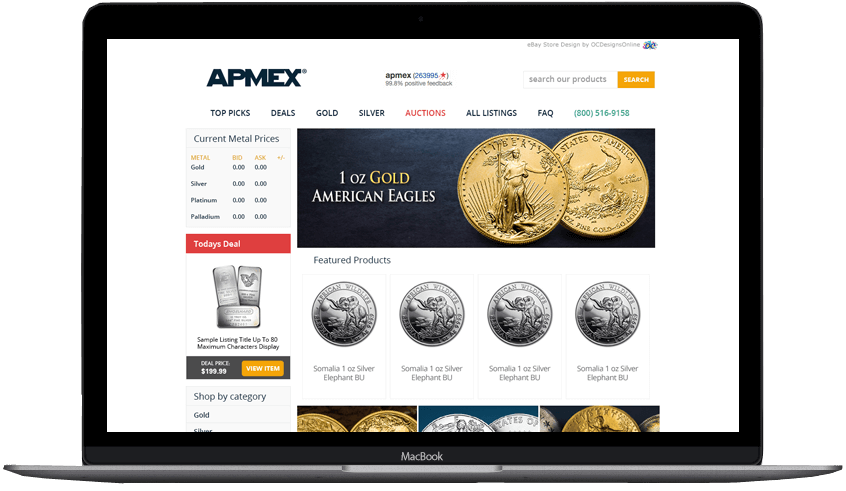 Apmex custom ebay store and template design