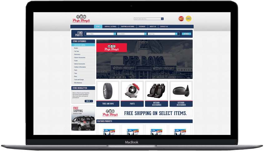 Pep Boys Custom eBay store design