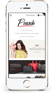 Custom Shopify theme pousch mobile